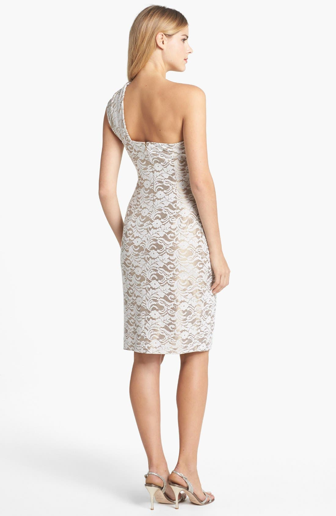 Alternate Image 2  - Eliza J Embellished One-Shoulder Lace Sheath Dress