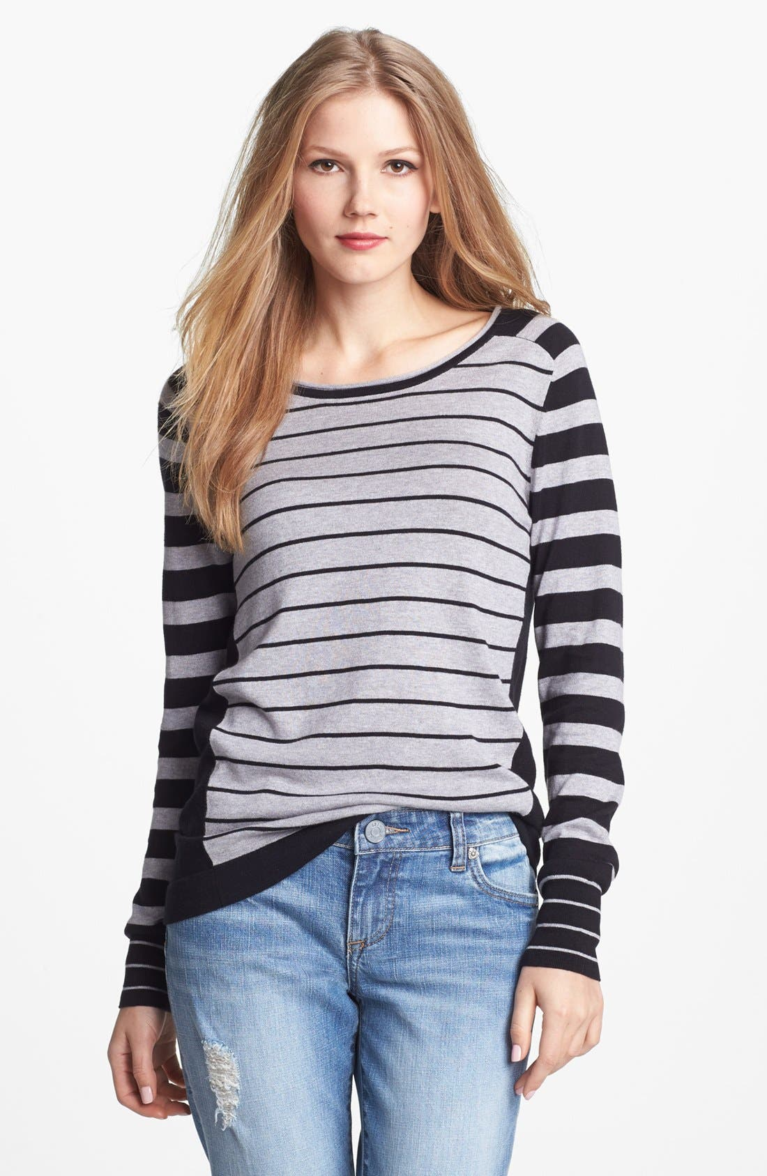 Alternate Image 1 Selected - Vince Camuto Mixed Stripe Colorblock Sweater