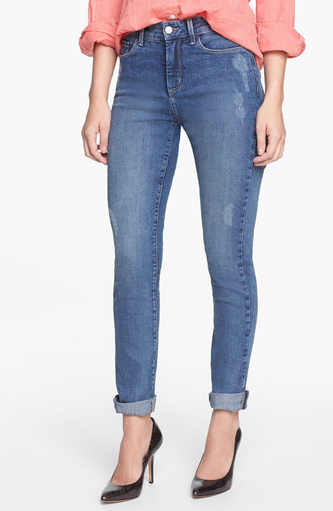 Alternate Image 1 Selected - NYDJ 'Leann' Stretch Skinny Boyfriend Jeans (Lake Arrowhead) (Regular & Petite)