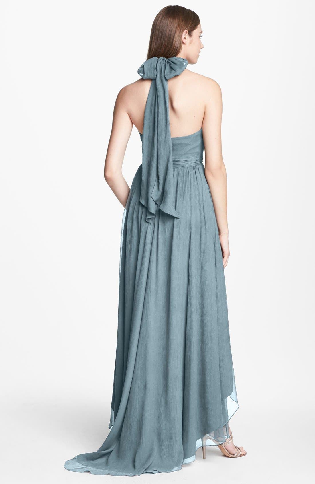 Alternate Image 2  - Jenny Yoo 'Olivia' Crinkled Chiffon High/Low Halter Dress (Online Only)