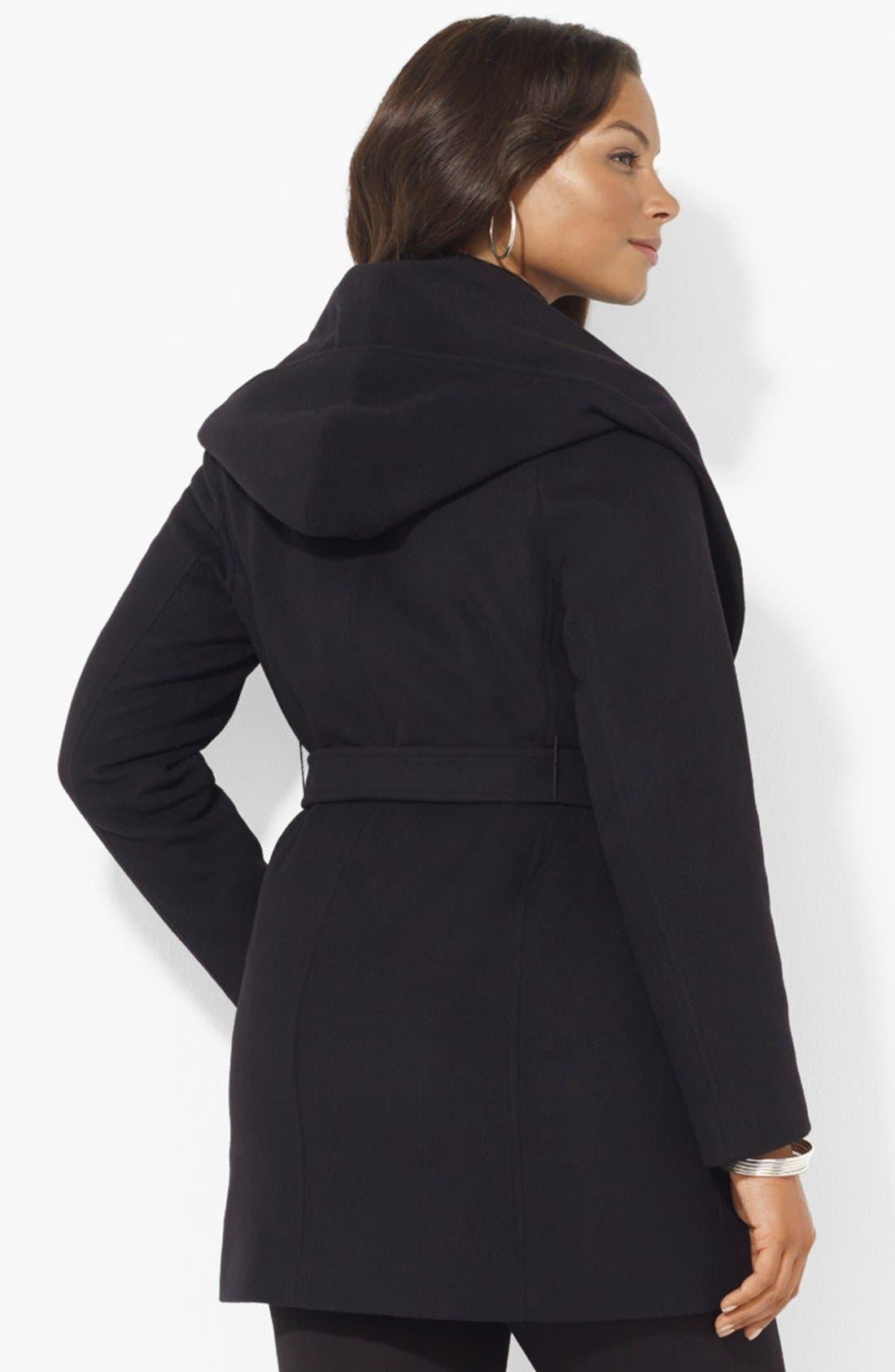 Alternate Image 2  - Lauren Ralph Lauren Hooded Wrap Coat (Plus Size)
