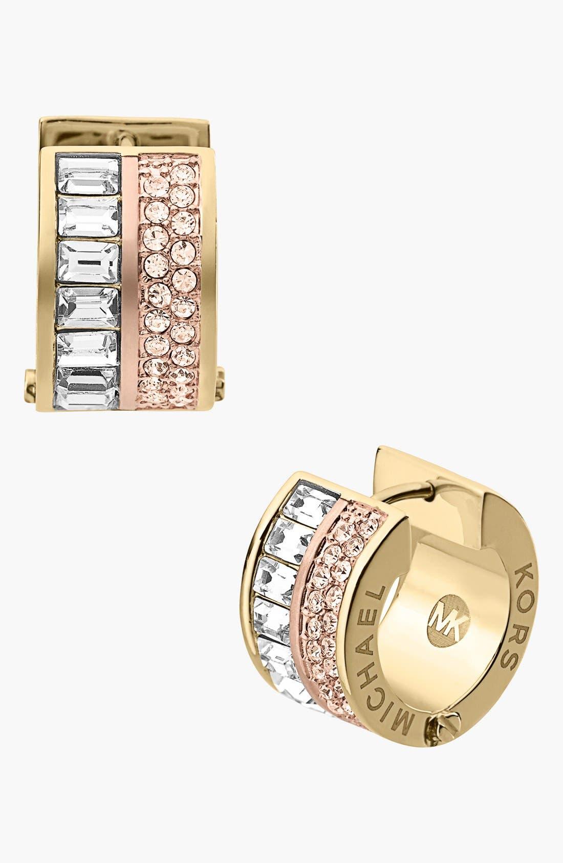 Main Image - Michael Kors 'Brilliance' Pavé Small Hoop Earrings