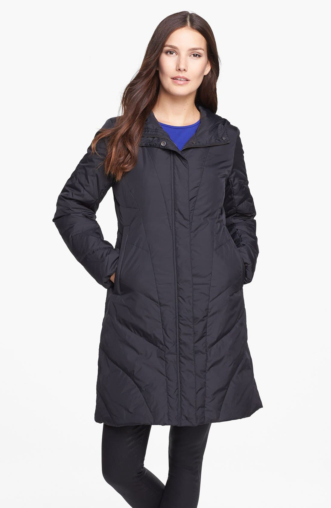 Main Image - Eileen Fisher Hooded Quilted Down Coat