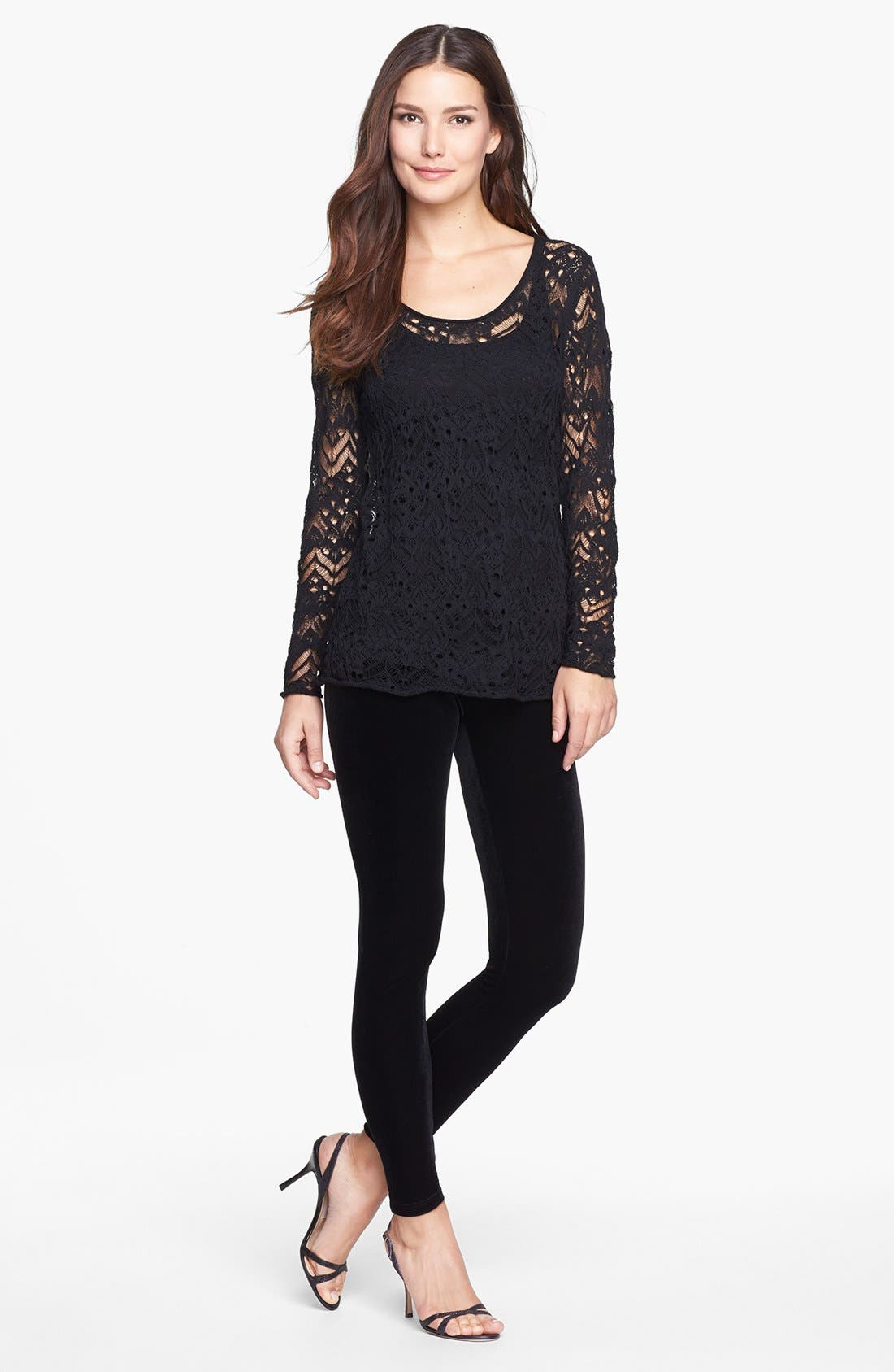 Alternate Image 2  - Eileen Fisher Stretch Velvet Leggings (Regular & Petite)