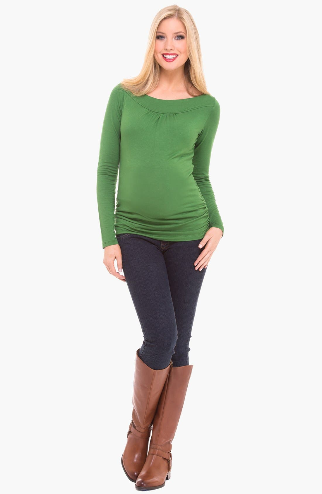 Alternate Image 1 Selected - Olian Boatneck Maternity Top