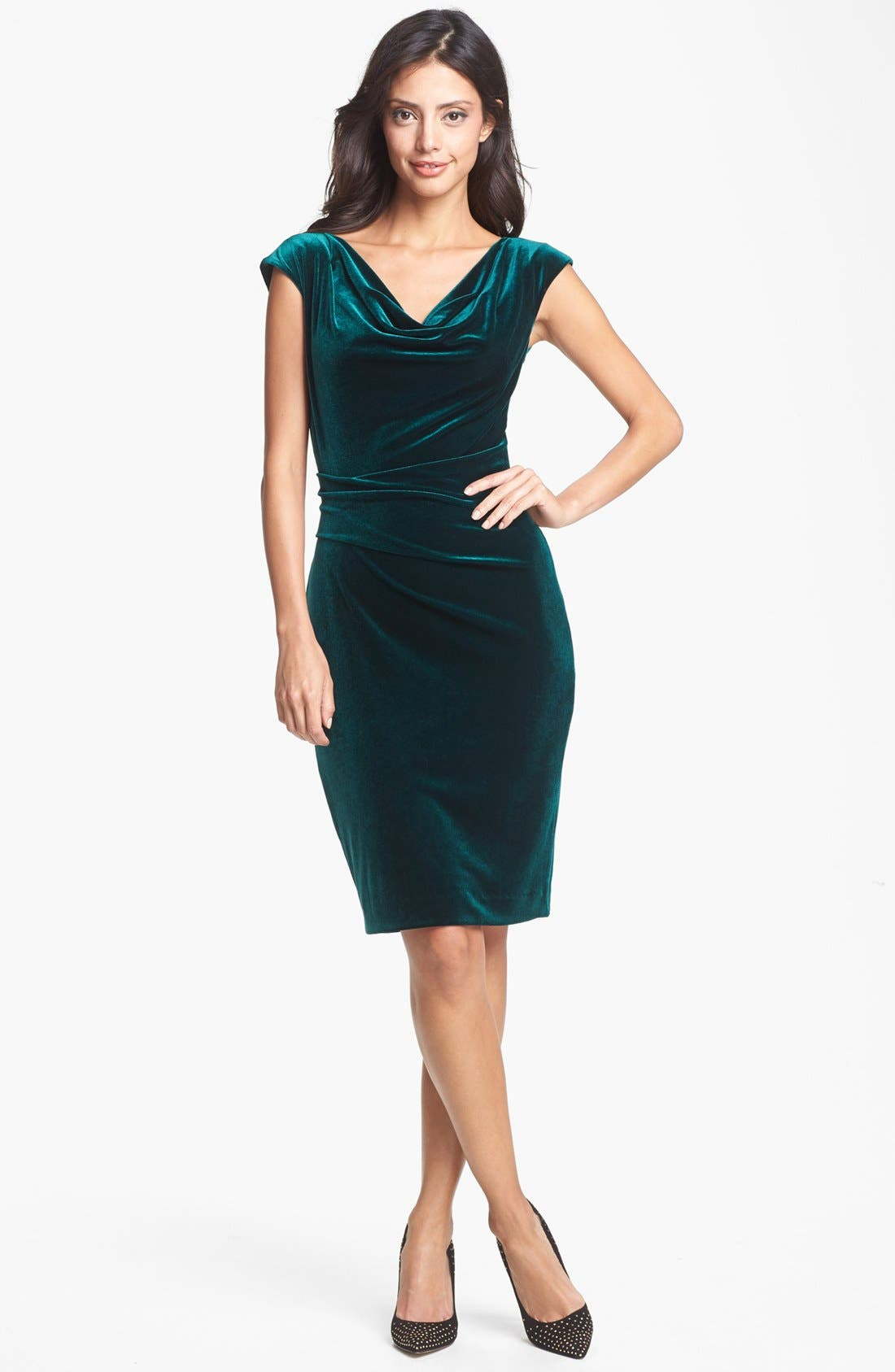 Main Image - Vince Camuto Cowl Neck Velvet Dress