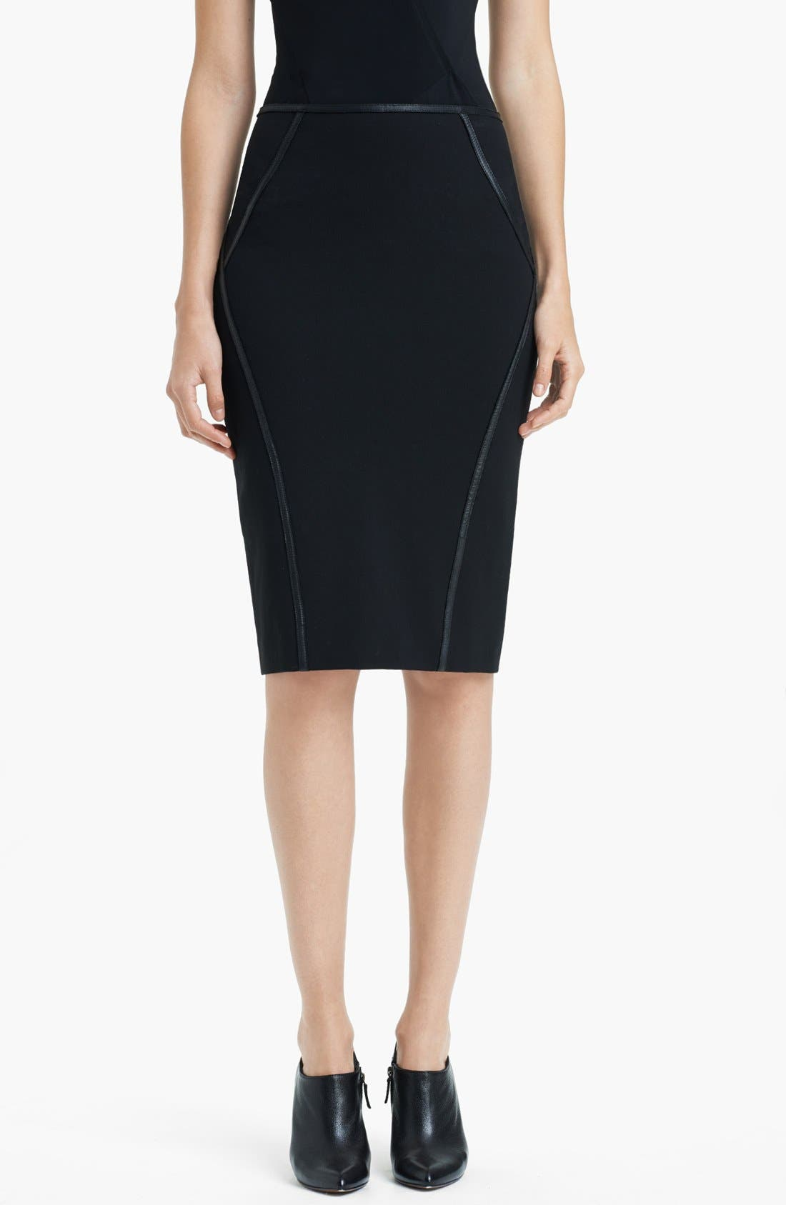 Main Image - Donna Karan Collection Leather Trim Structured Jersey Skirt