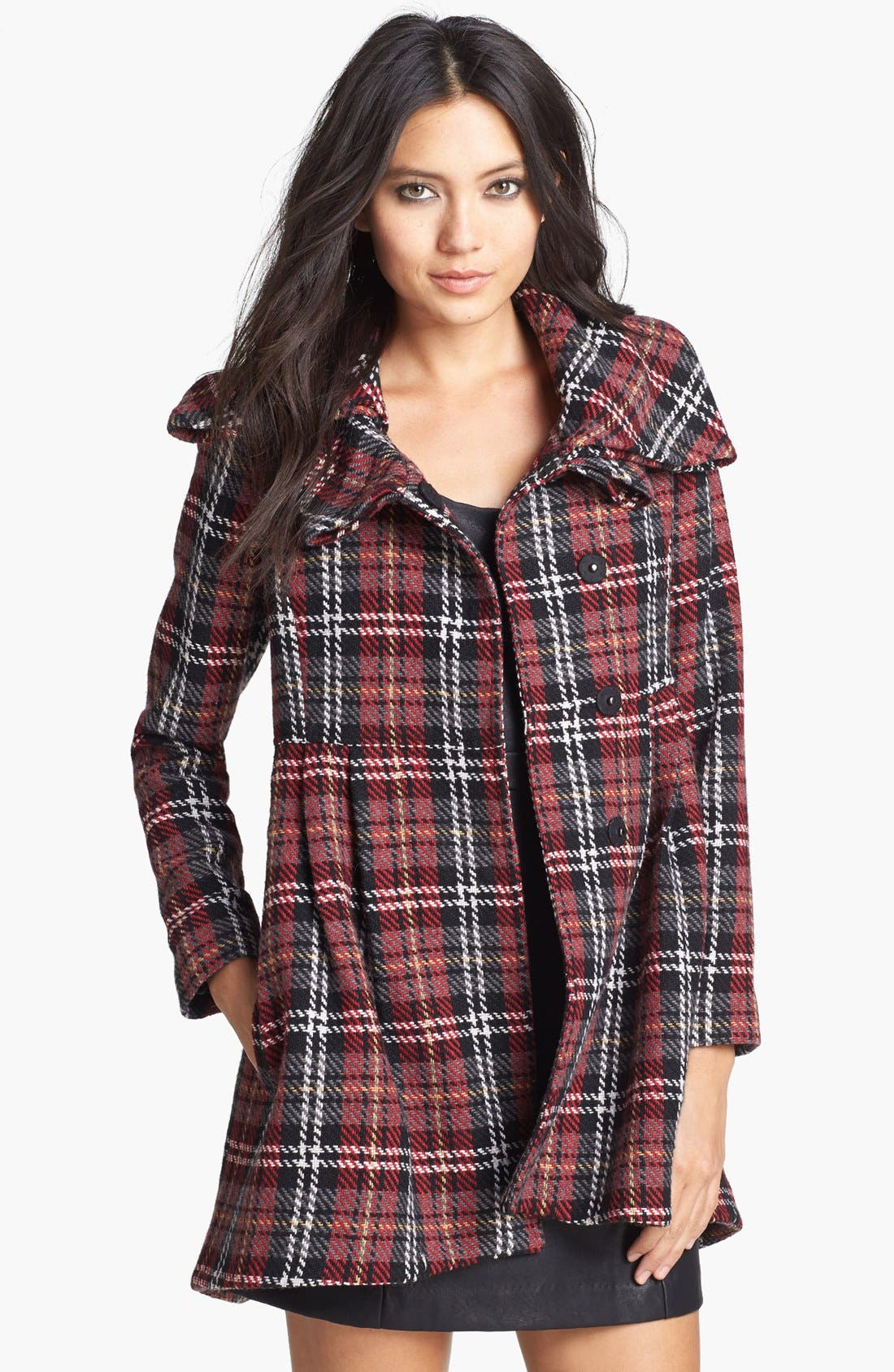 Main Image - Mural Plaid Babydoll Coat