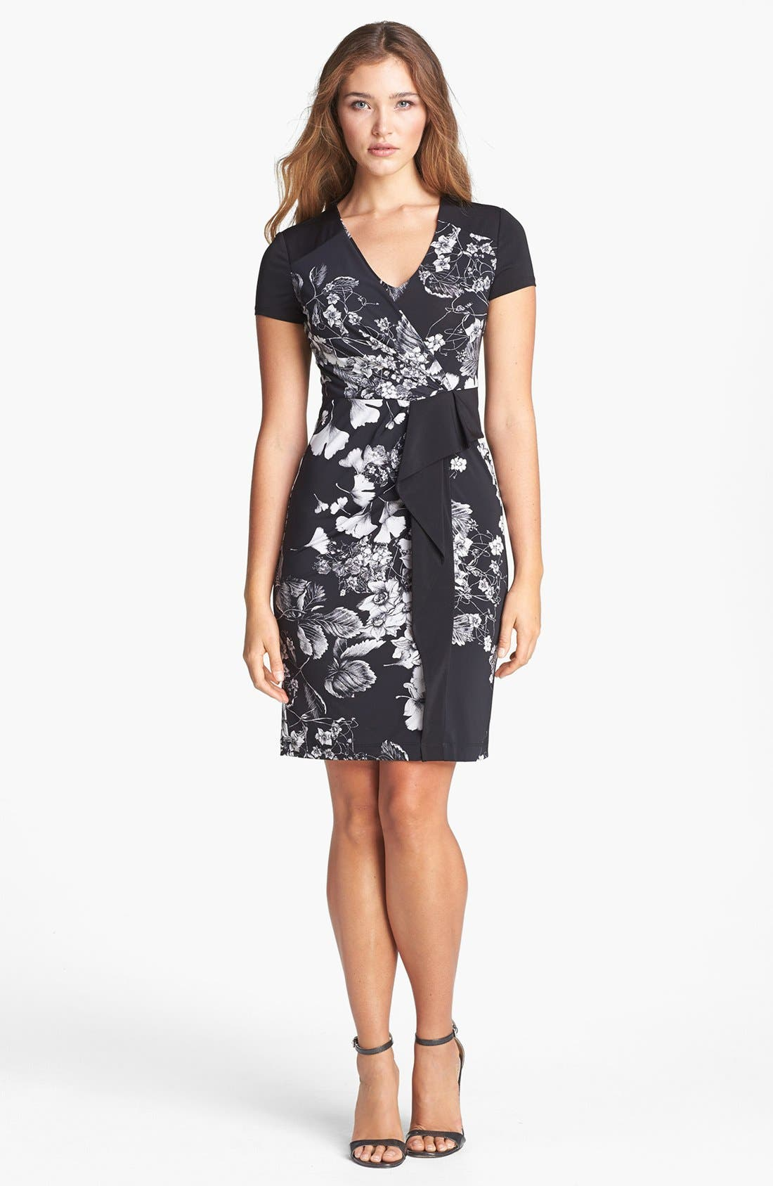 Alternate Image 1 Selected - BCBGMAXAZRIA Print Side Drape Jersey Sheath Dress