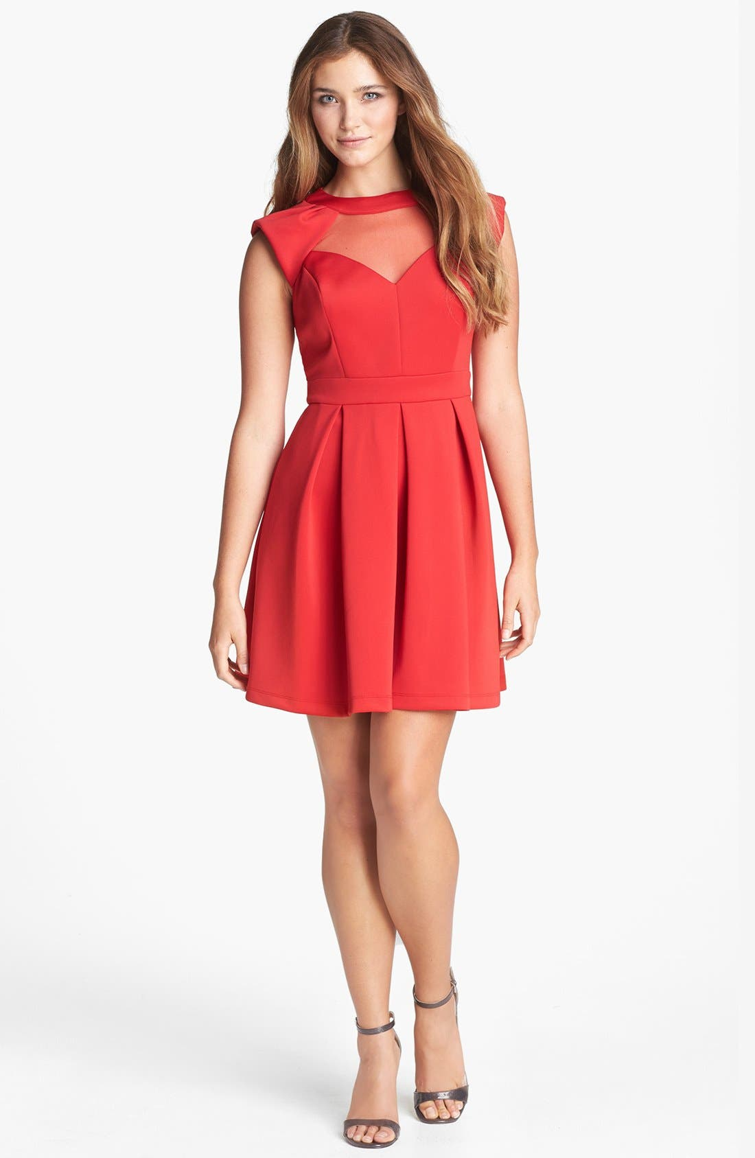 Alternate Image 2  - Hailey by Adrianna Papell Illusion Cutout Fit & Flare Dress