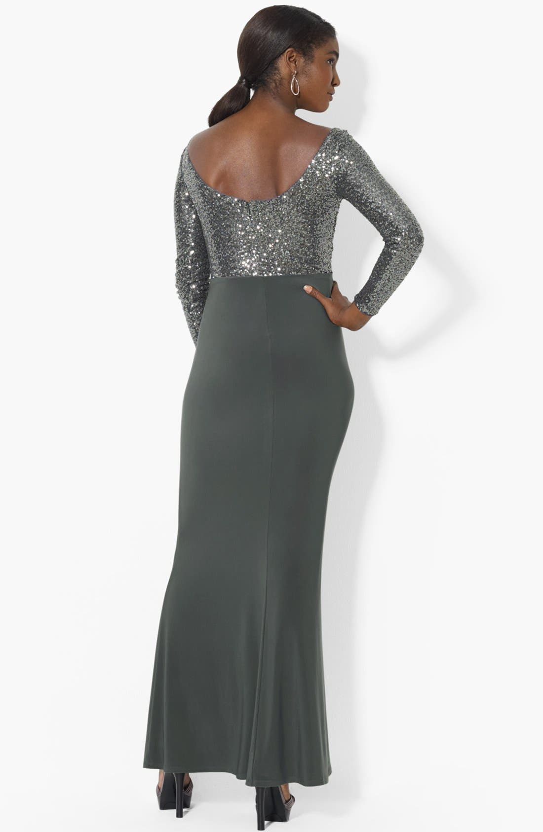 Alternate Image 2  - Lauren Ralph Lauren Embellished Bodice Jersey Gown (Regular & Petite)