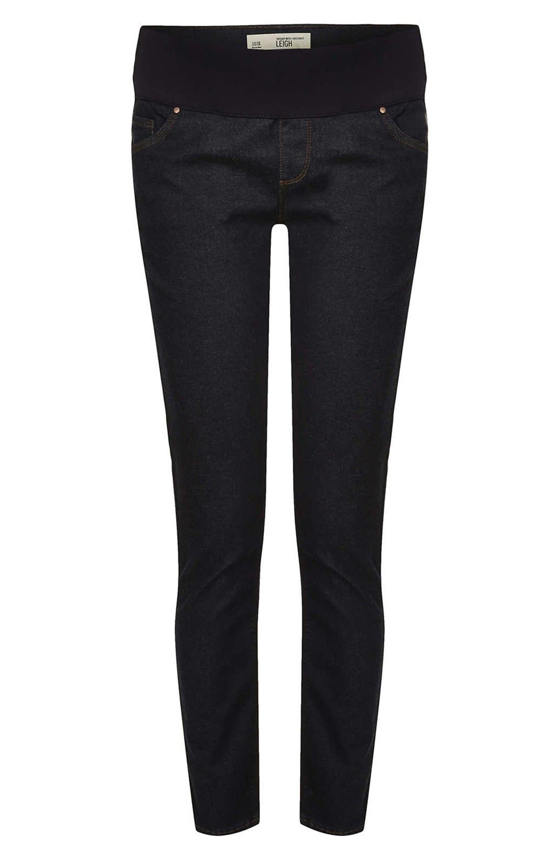 Alternate Image 3  - Topshop 'Leigh' Maternity Jeans (Indigo)