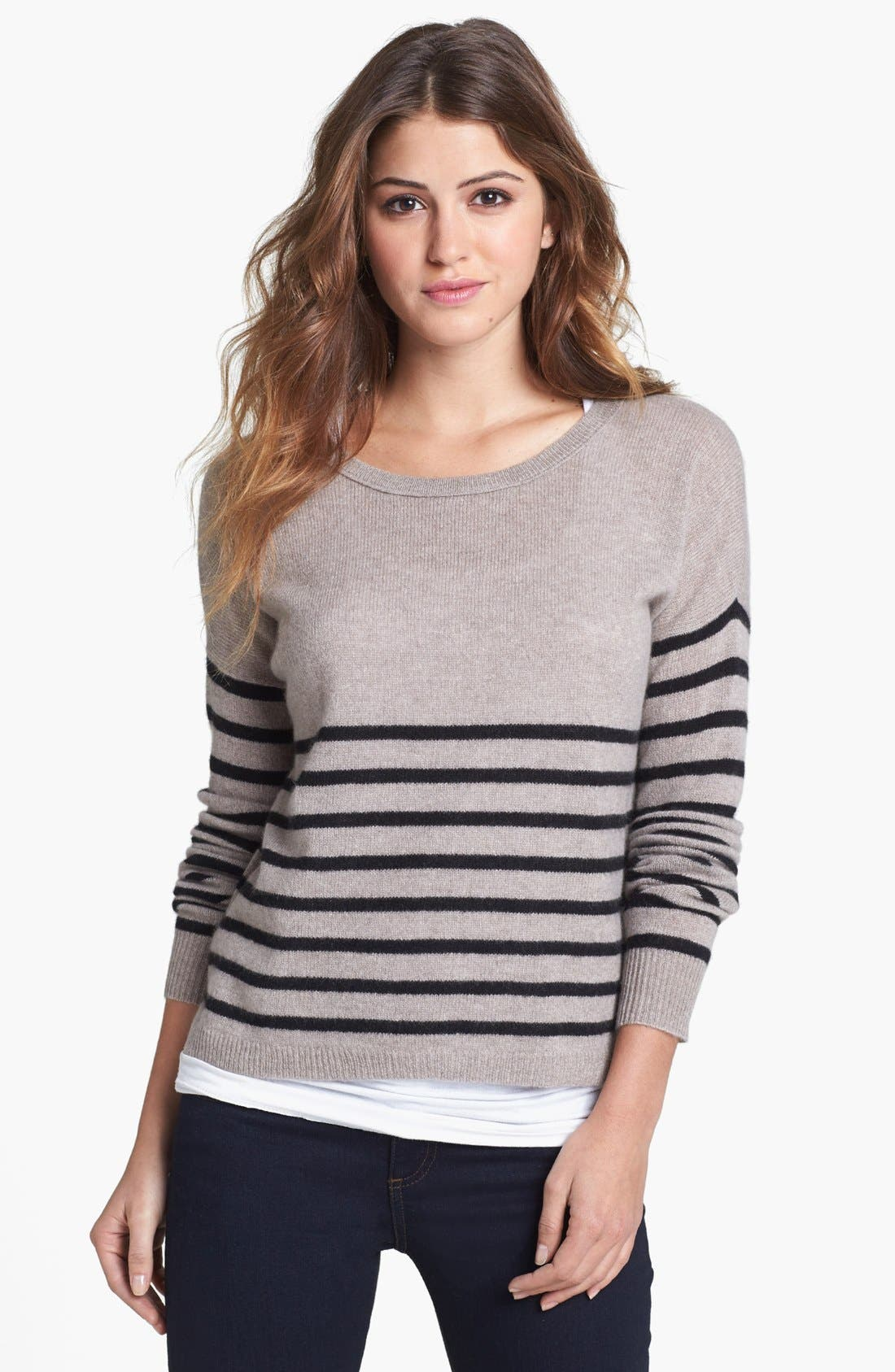 Alternate Image 1 Selected - Halogen® Stripe Crop Cashmere Sweater