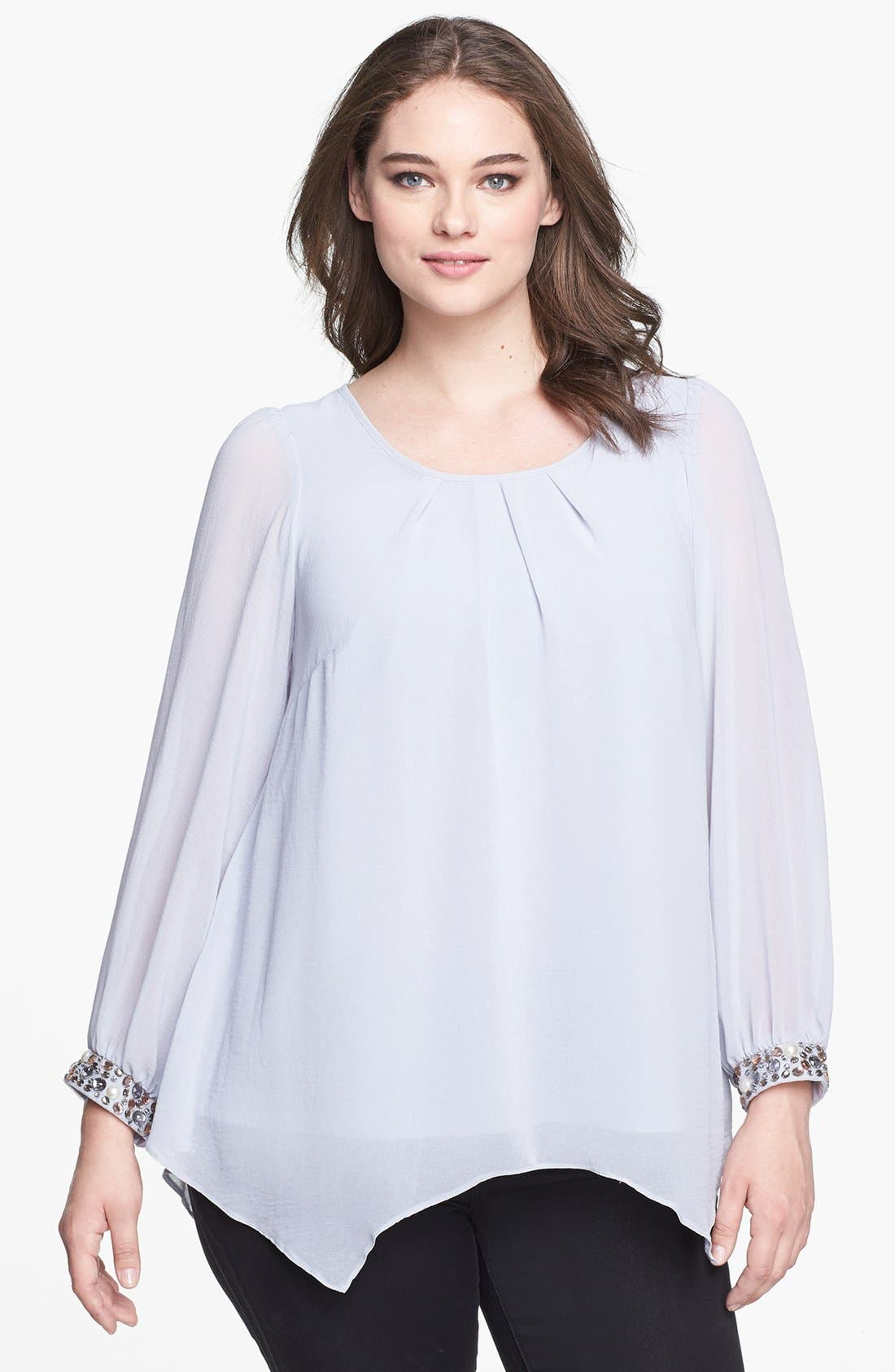 Alternate Image 1 Selected - Evans Embellished Cuff Chiffon Blouse (Plus Size)