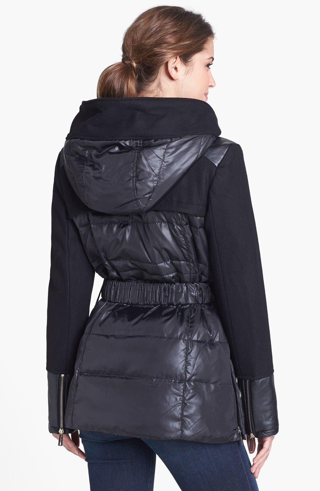 Alternate Image 2  - Kenneth Cole New York Quilted & Wool Blend Hooded Jacket (Online Only)