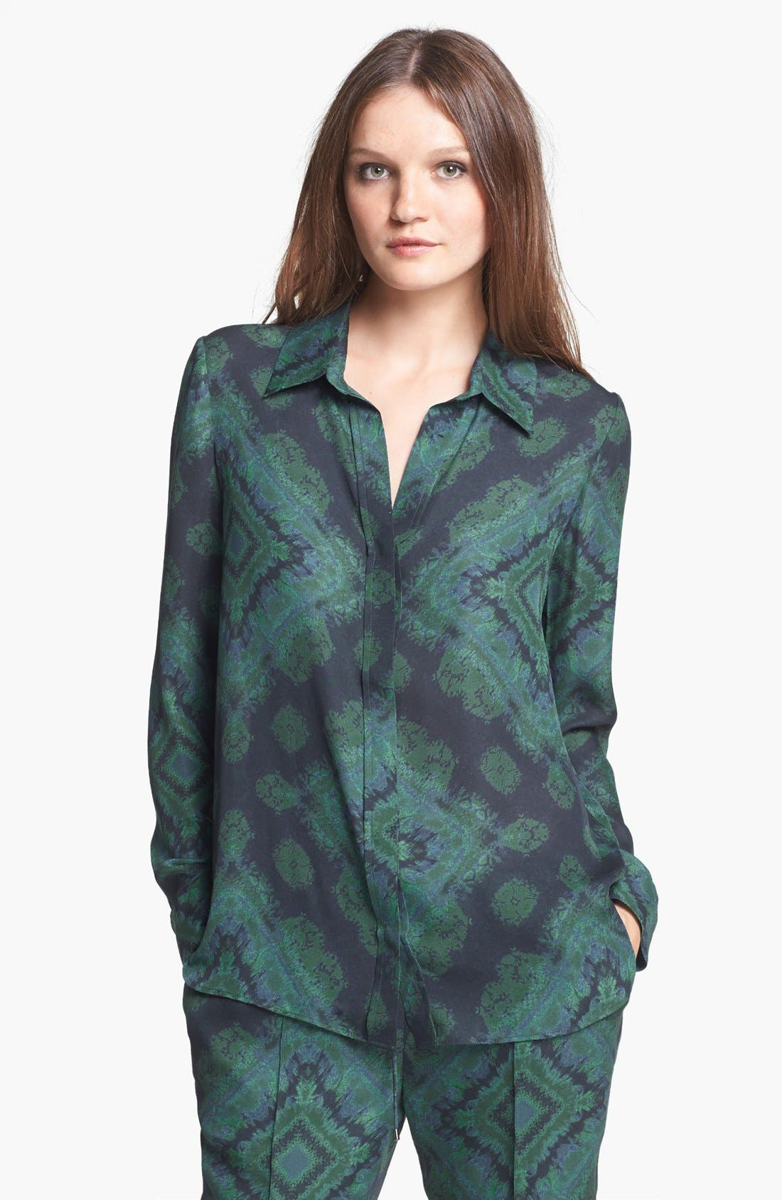 Alternate Image 1 Selected - Haute Hippie Print Silk Blouse