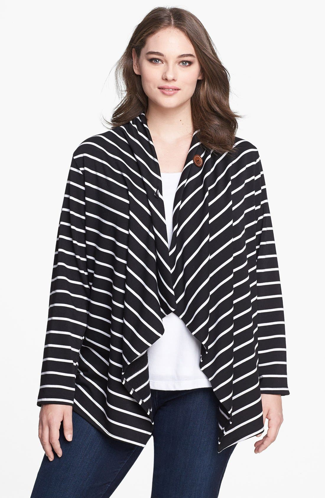 Bobeau Stripe Fleece Wrap (Plus Size)