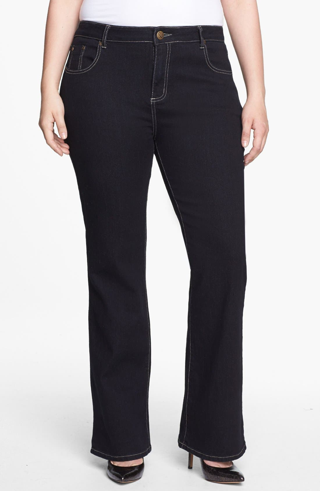 Main Image - City Chic 'Glam' Bootcut Stretch Jeans (Plus Size)