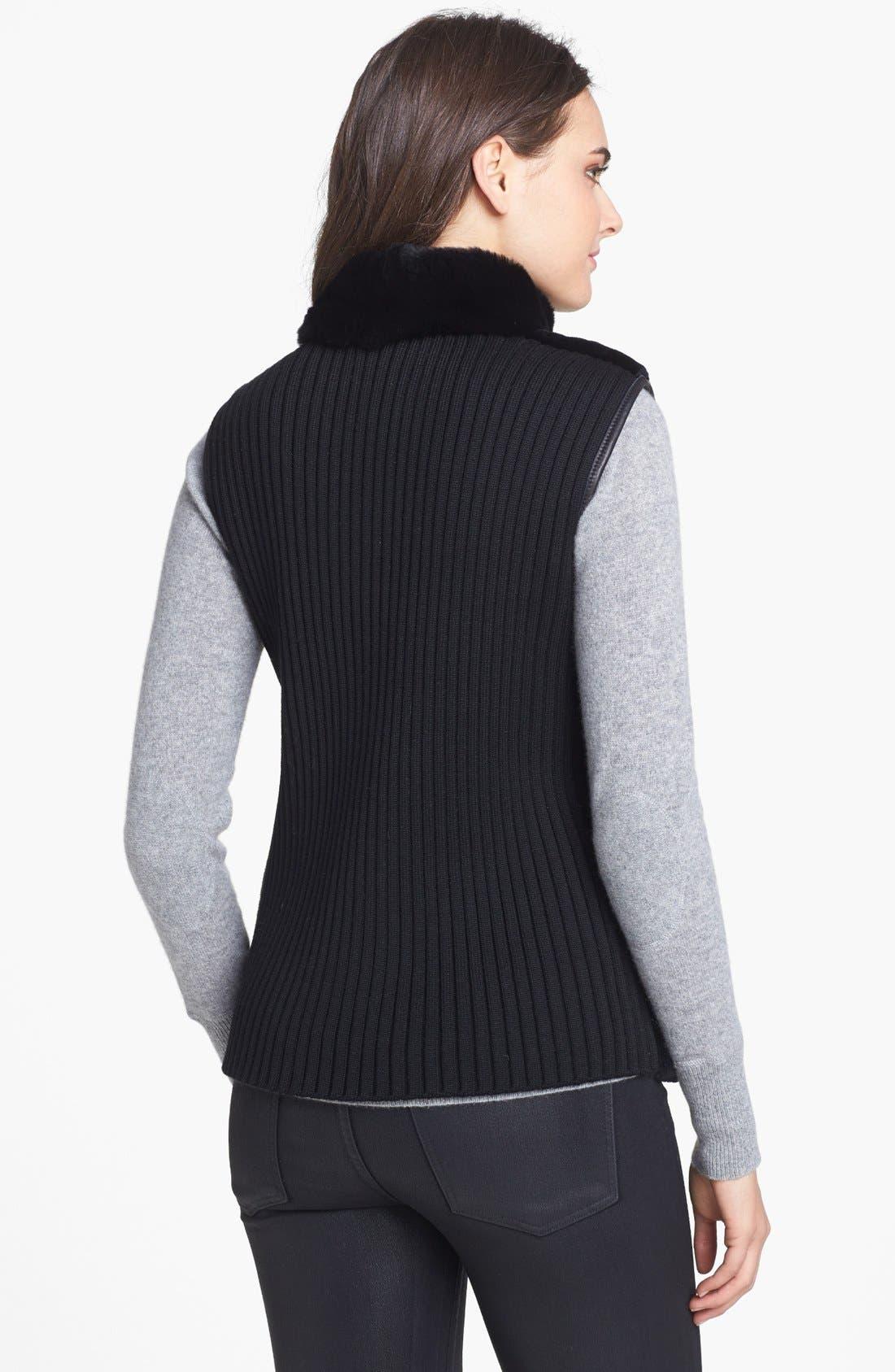 Alternate Image 2  - Chosen Furs Reversible Rabbit Fur & Lambskin Leather Vest