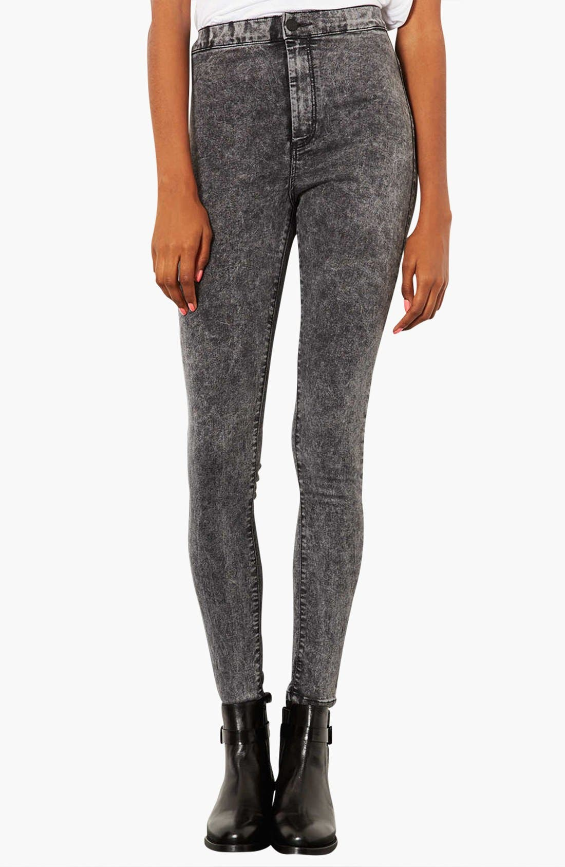 Alternate Image 1 Selected - Topshop Moto 'Joni' Acid Wash High Rise Skinny Jeans (Black) (Regular, Short & Long)