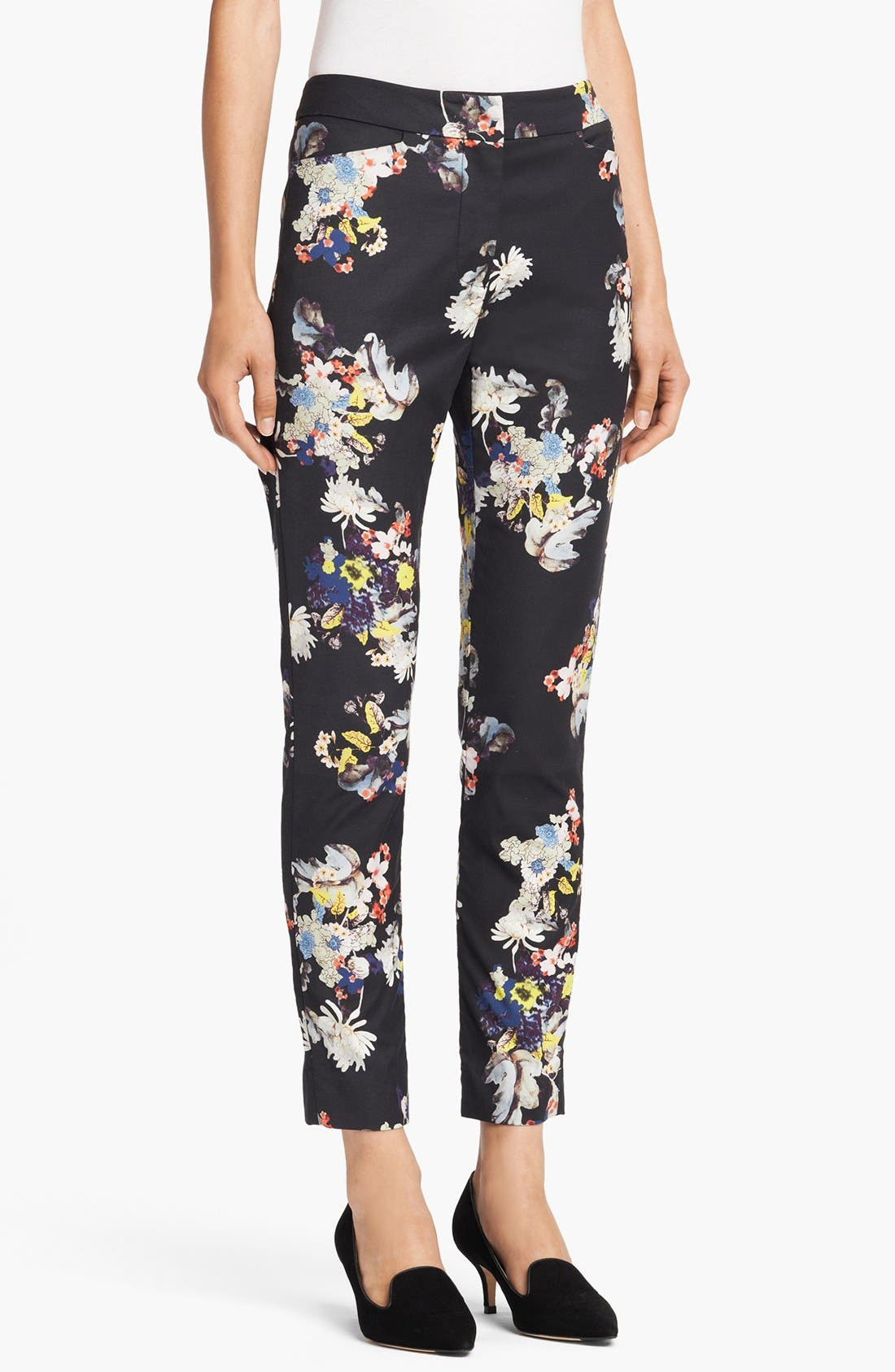 Alternate Image 1 Selected - Erdem Slim Garden Print Trousers