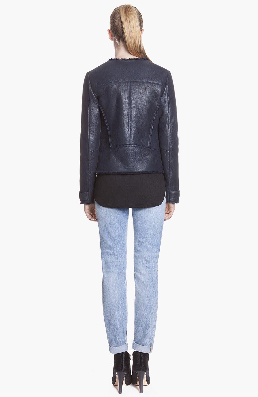 Alternate Image 2  - sandro 'Variation' Leather & Genuine Shearling Jacket