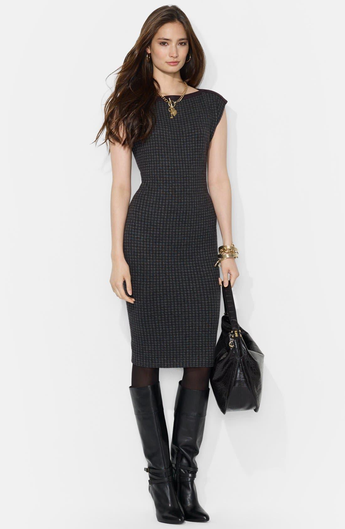 Alternate Image 1 Selected - Lauren Ralph Lauren Houndstooth Boatneck Dress (Petite)