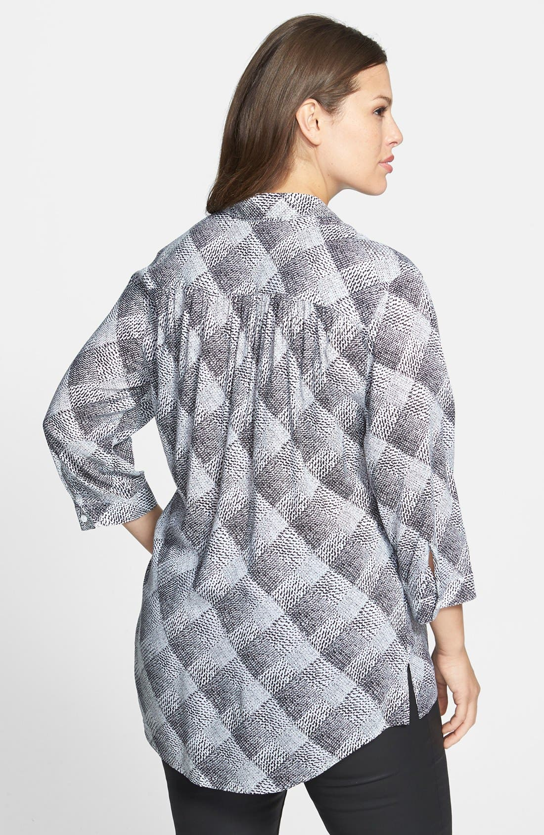 Alternate Image 2  - Foxcroft 'Distressed Plaid' Tunic (Plus Size)