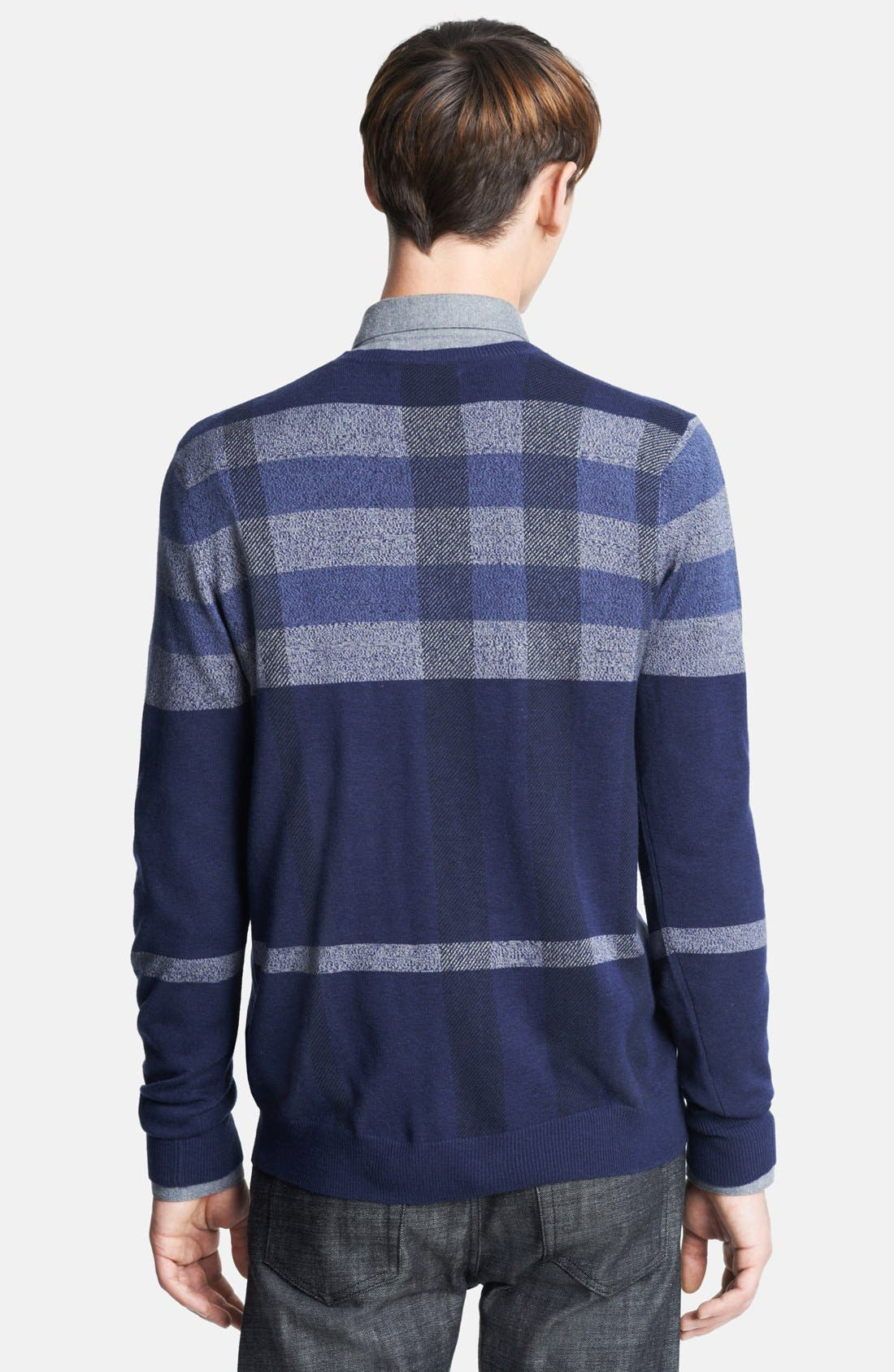 Alternate Image 2  - Burberry London Plaid Wool Blend V-Neck Sweater