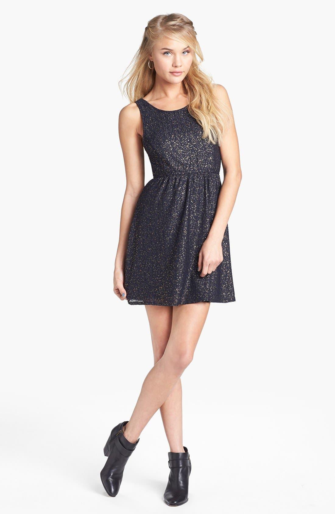 Main Image - dee elle Textured Metallic Skater Dress (Juniors)