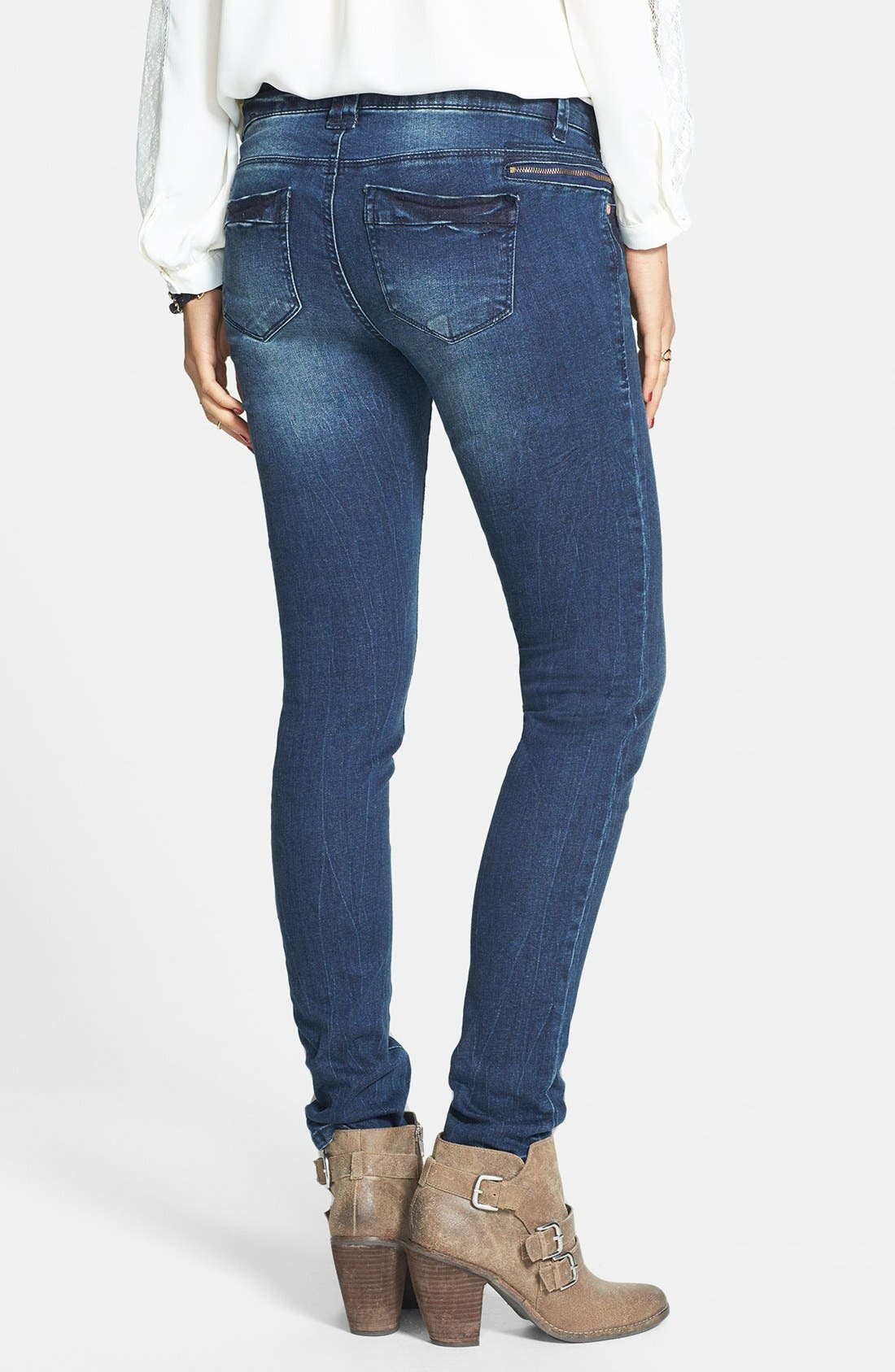 Alternate Image 2  - Fire Zipper Detail Skinny Jeans (Dark) (Juniors)