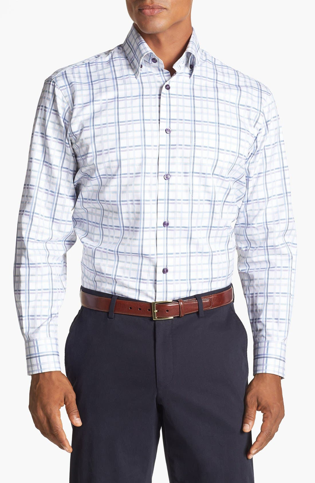 Main Image - Robert Talbott Windowpane Plaid Woven Sport Shirt