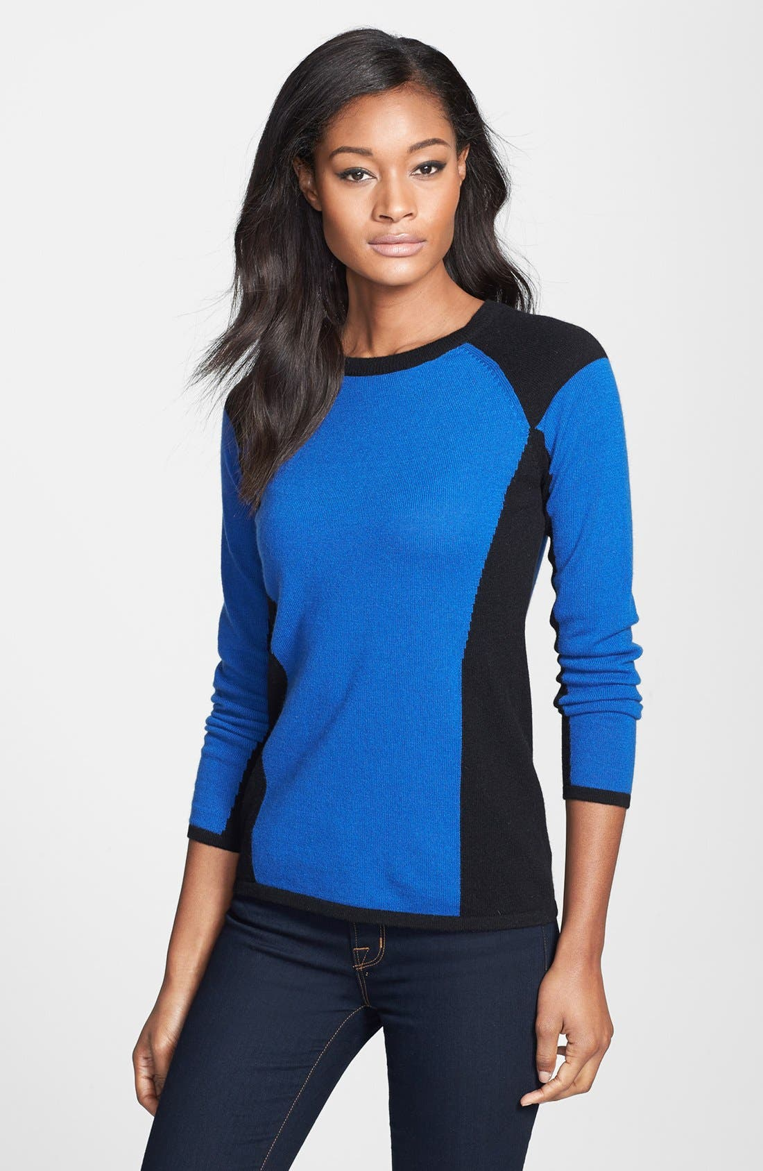 Alternate Image 1 Selected - Lauren Hansen Colorblock Cashmere Pullover