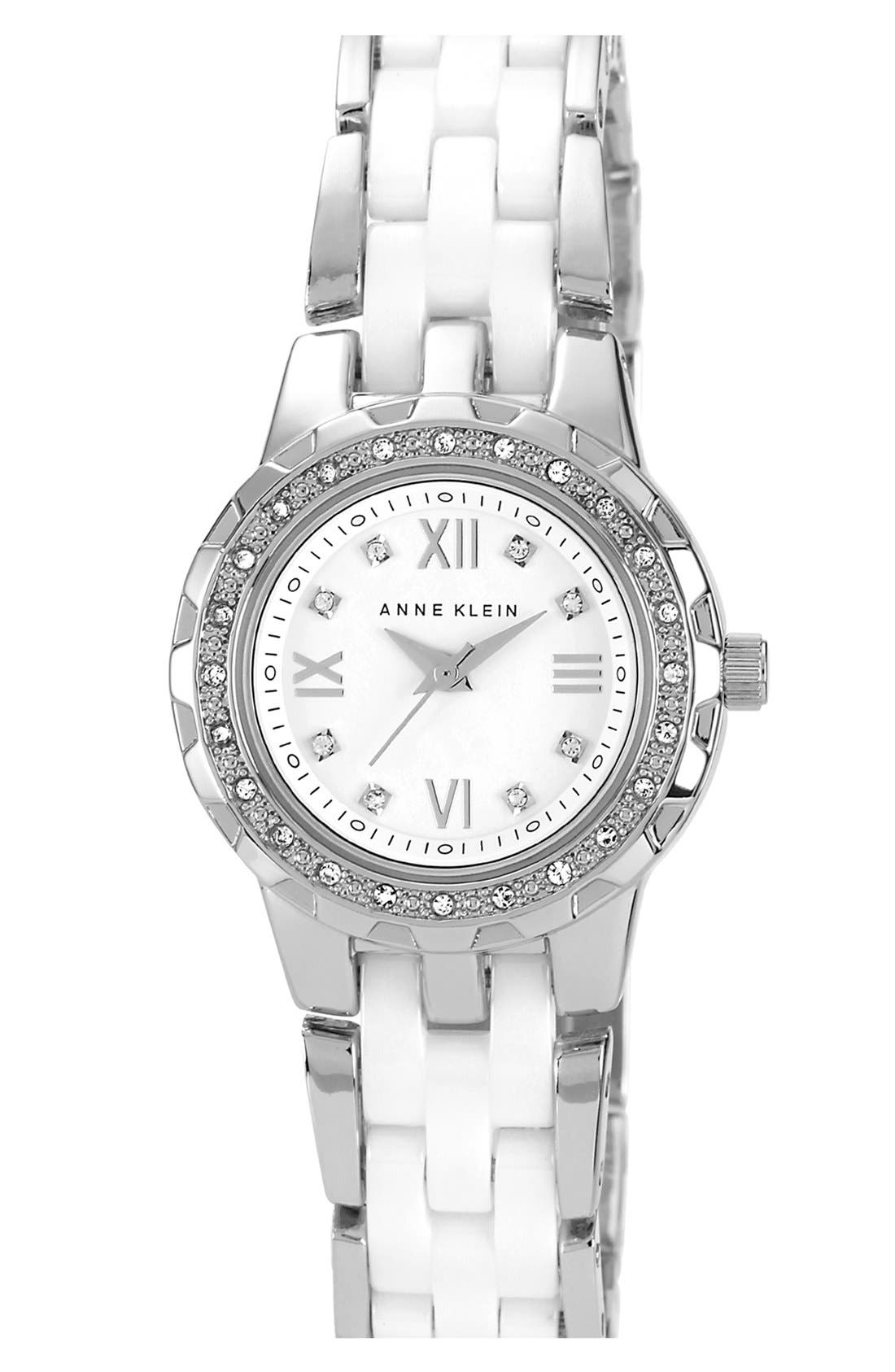 Alternate Image 1 Selected - Anne Klein Crystal & Ceramic Bracelet Watch, 25mm