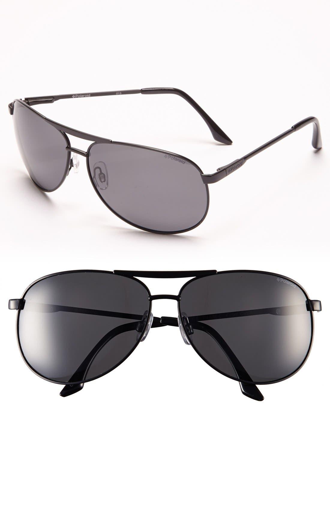 Main Image - Polaroid Eyewear 68mm Polarized Metal Aviator Sunglasses