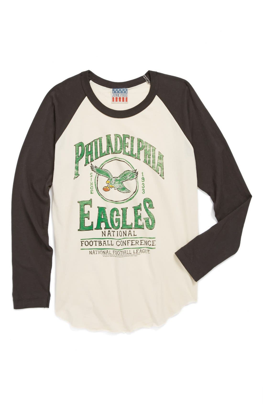 Main Image - Junk Food 'Philadelphia Eagles' Raglan Long Sleeve T-Shirt (Little Boys & Big Boys)