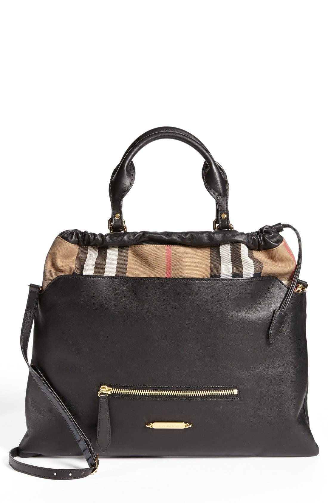 Main Image - Burberry 'Big Crush - House Check' Leather Tote