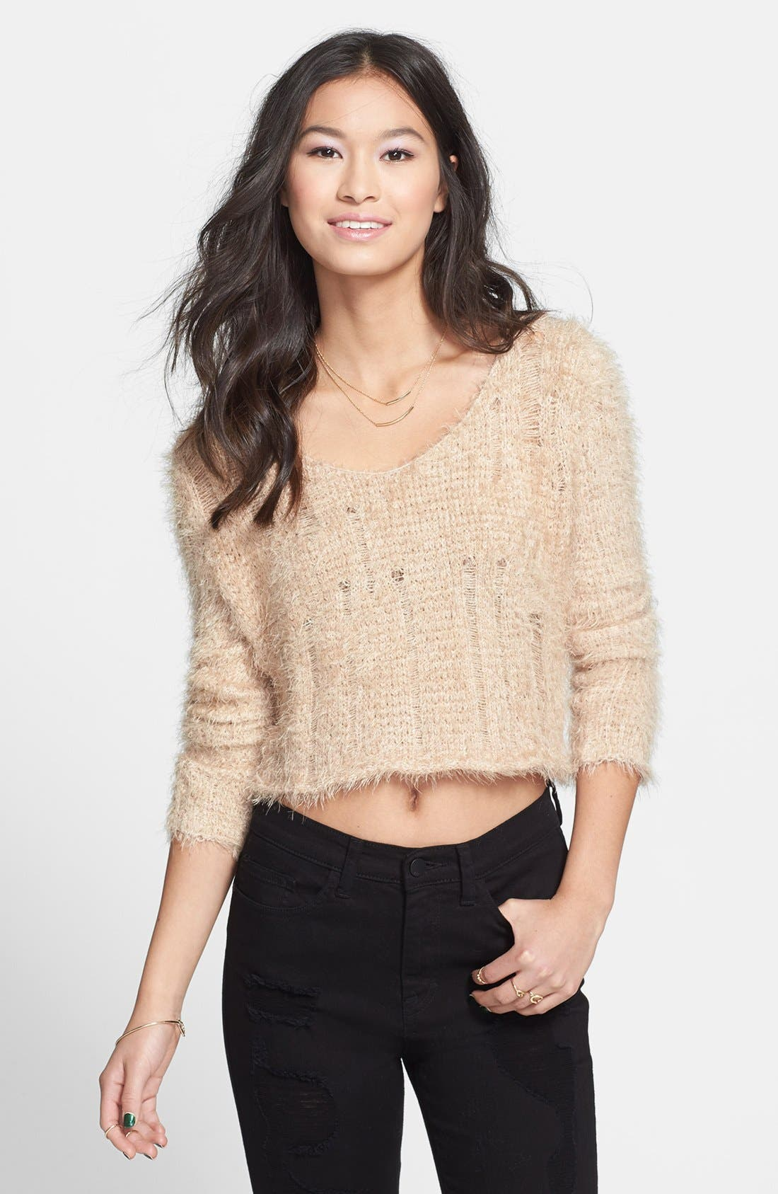 Alternate Image 1 Selected - BP. Fuzzy Crop Sweater (Juniors)