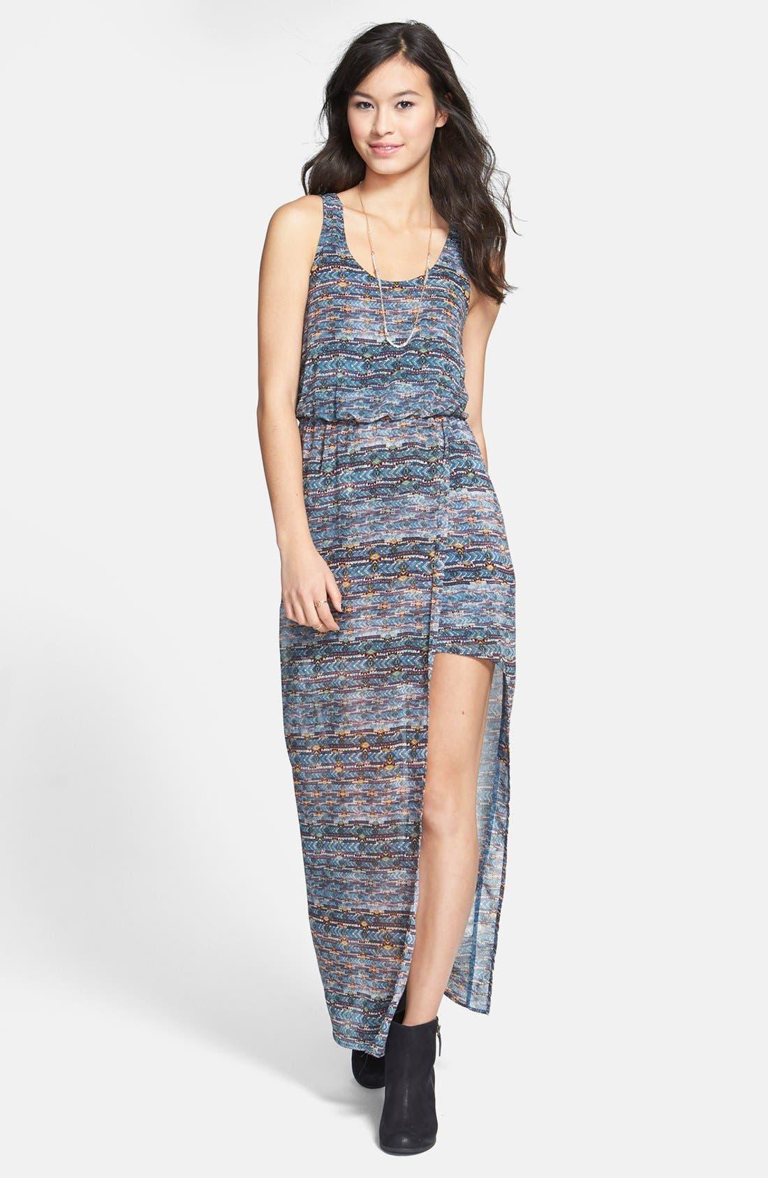 Main Image - Lush Faux Wrap Chiffon Maxi Dress (Juniors)