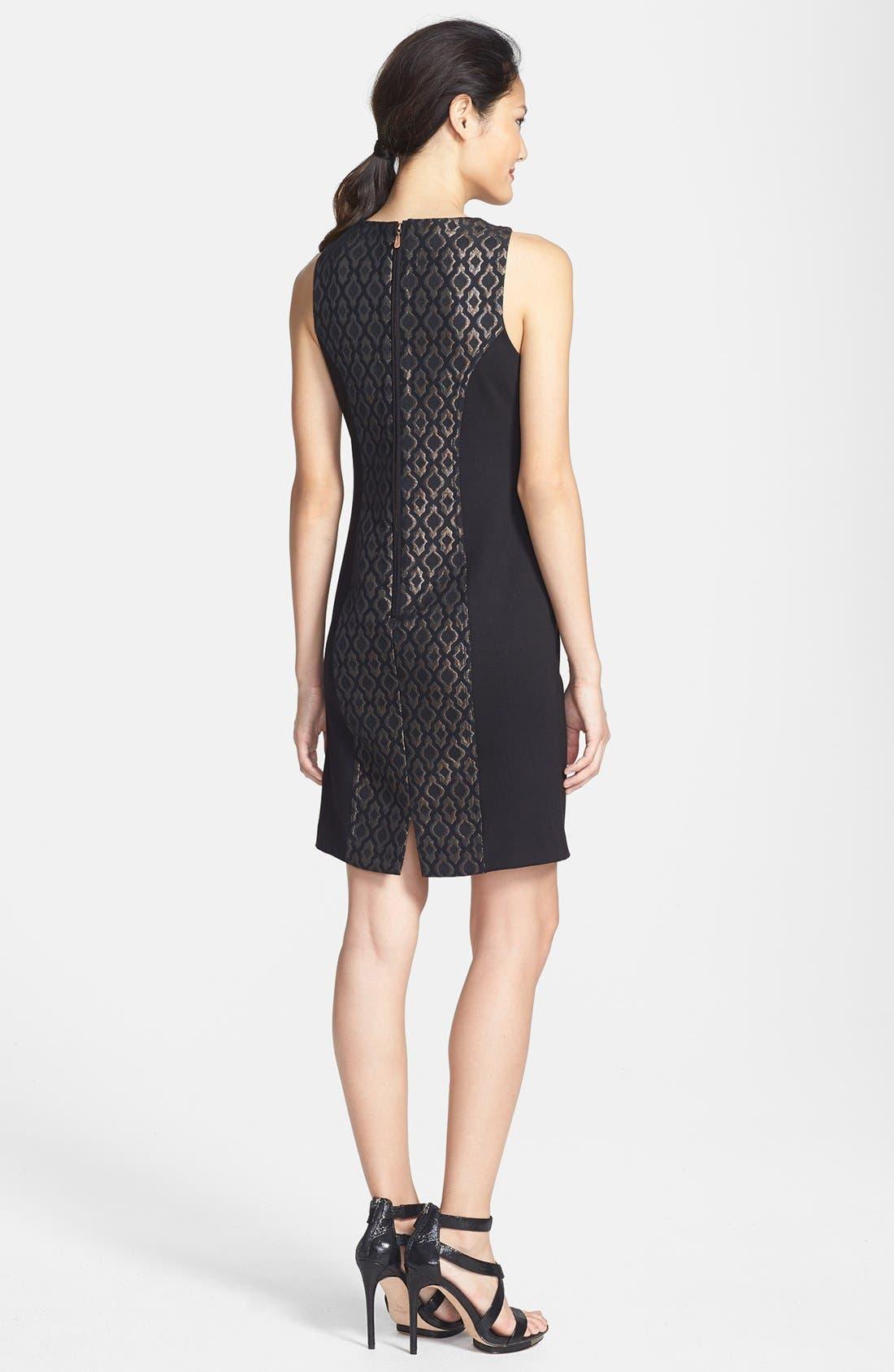 Alternate Image 2  - Laundry by Shelli Segal Embellished Metallic Jacquard & Ponte Sheath Dress