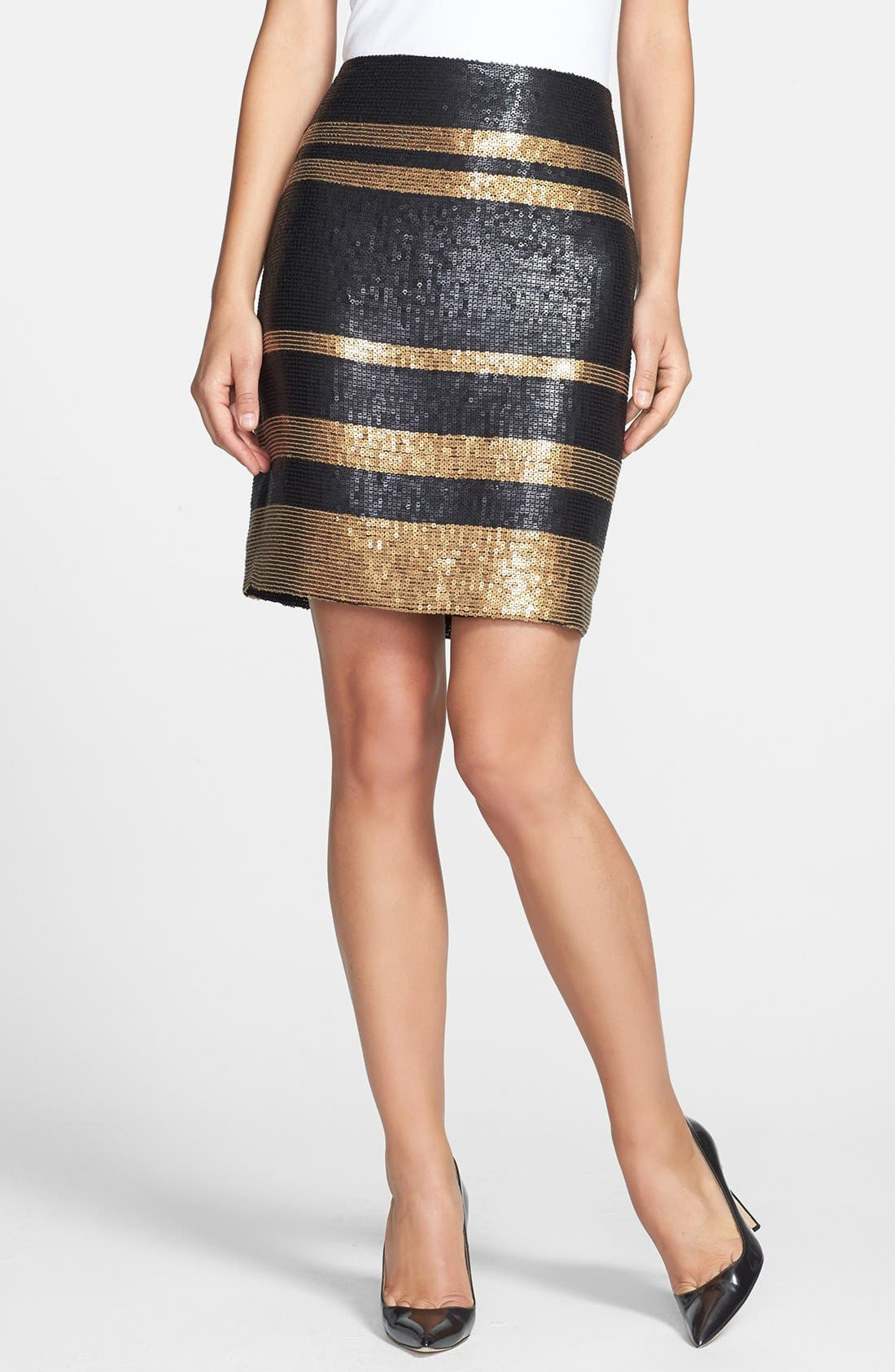 Main Image - Adrianna Papell Stripe Sequin Pencil Skirt