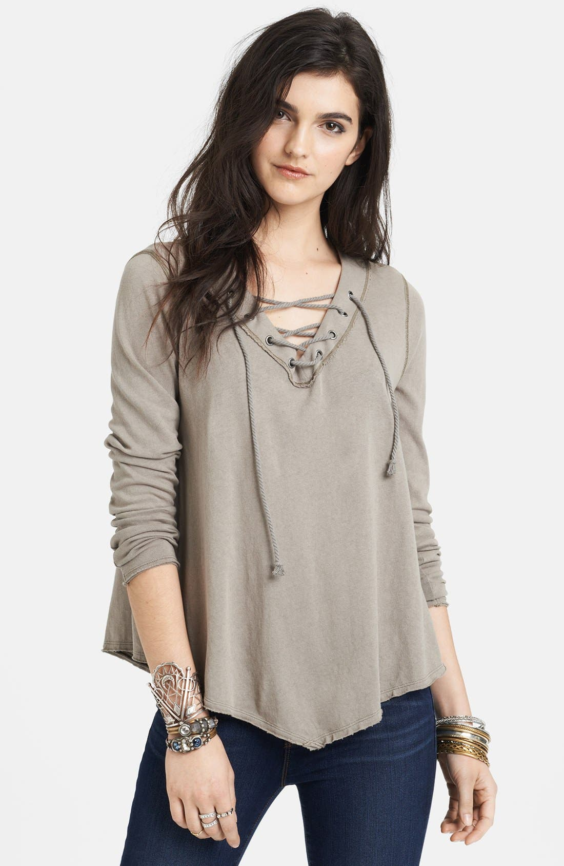Alternate Image 1 Selected - Free People Laced Neck Cotton Tee