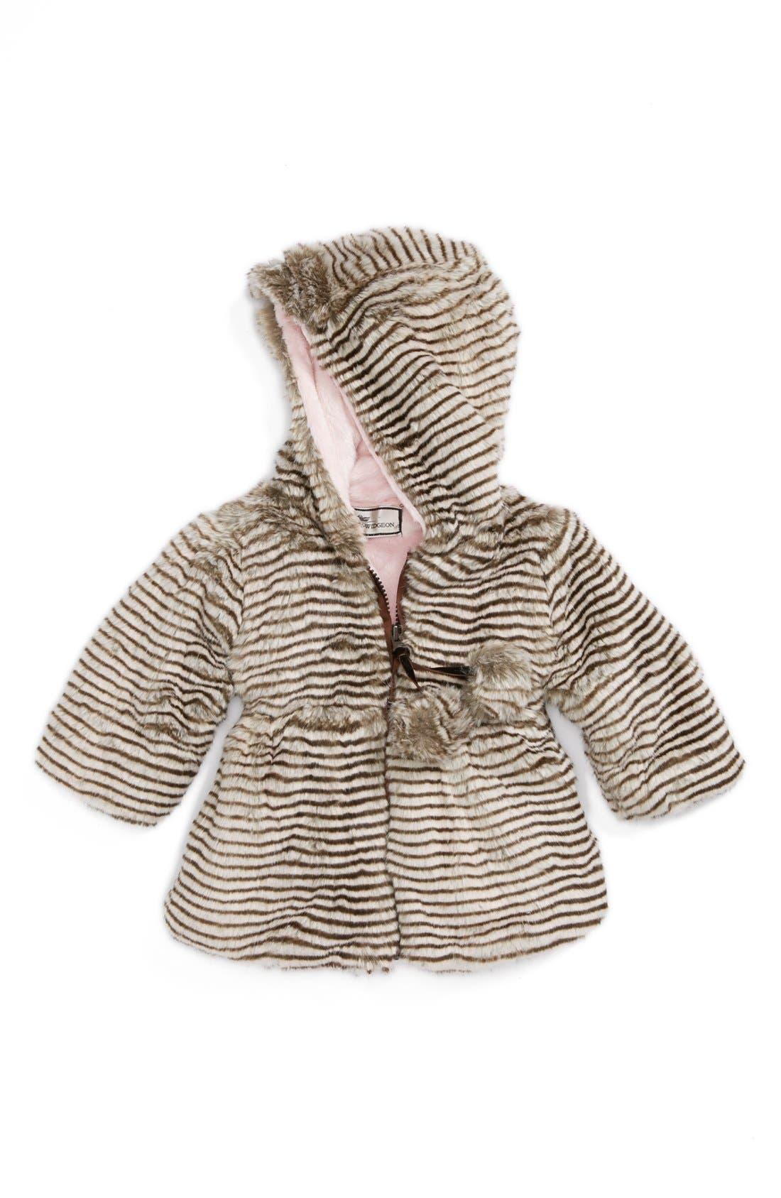 Main Image - Widgeon Hooded Faux Fur Pompom Coat (Baby Girls)