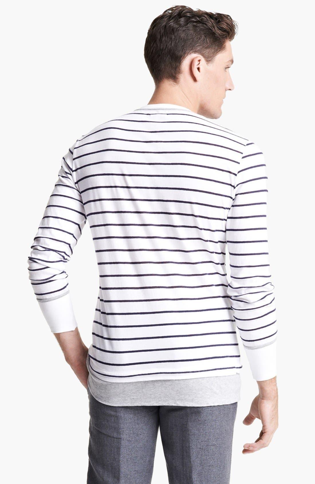 Alternate Image 2  - Michael Bastian Stripe Cotton & Linen Long Sleeve T-Shirt