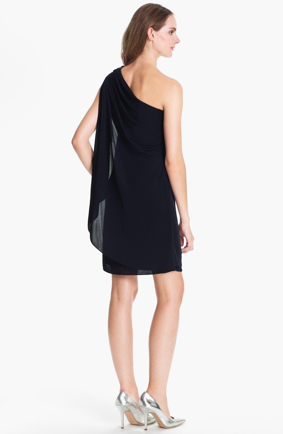 Alternate Image 2  - JS Boutique Embellished One-Shoulder Mesh Dress