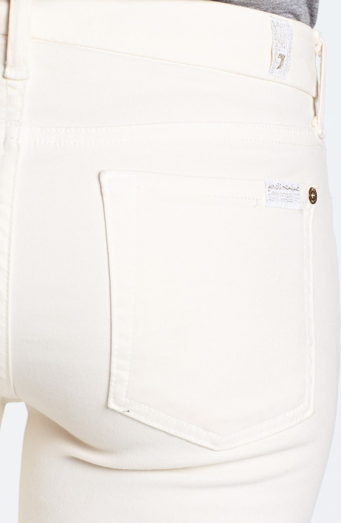 Alternate Image 3  - 7 For All Mankind® Sateen Skinny Jeans (Winter White)