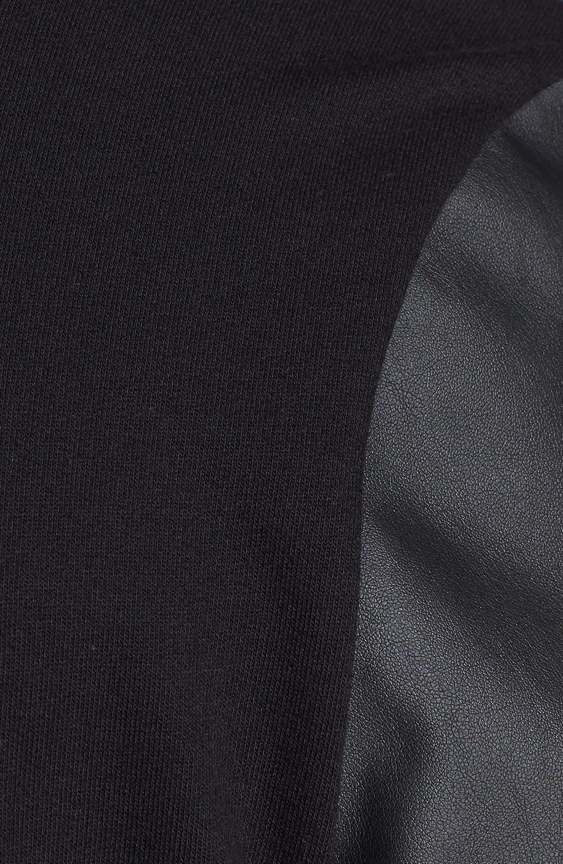 Alternate Image 3  - Topman Faux Leather Sleeve Crewneck Sweatshirt