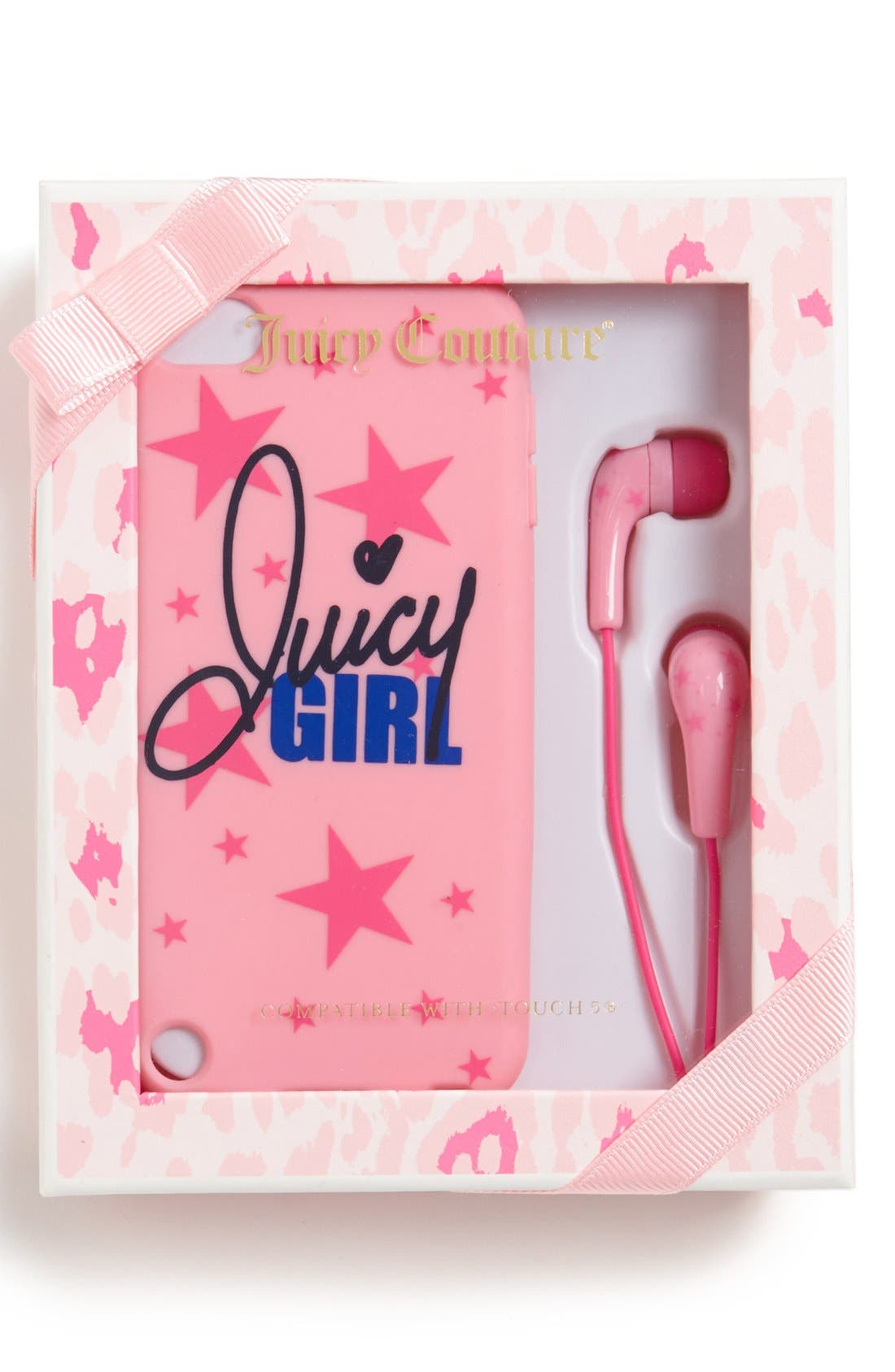 Alternate Image 1 Selected - Juicy Couture 'Stars' iPhone 5/5s Case & Earbuds