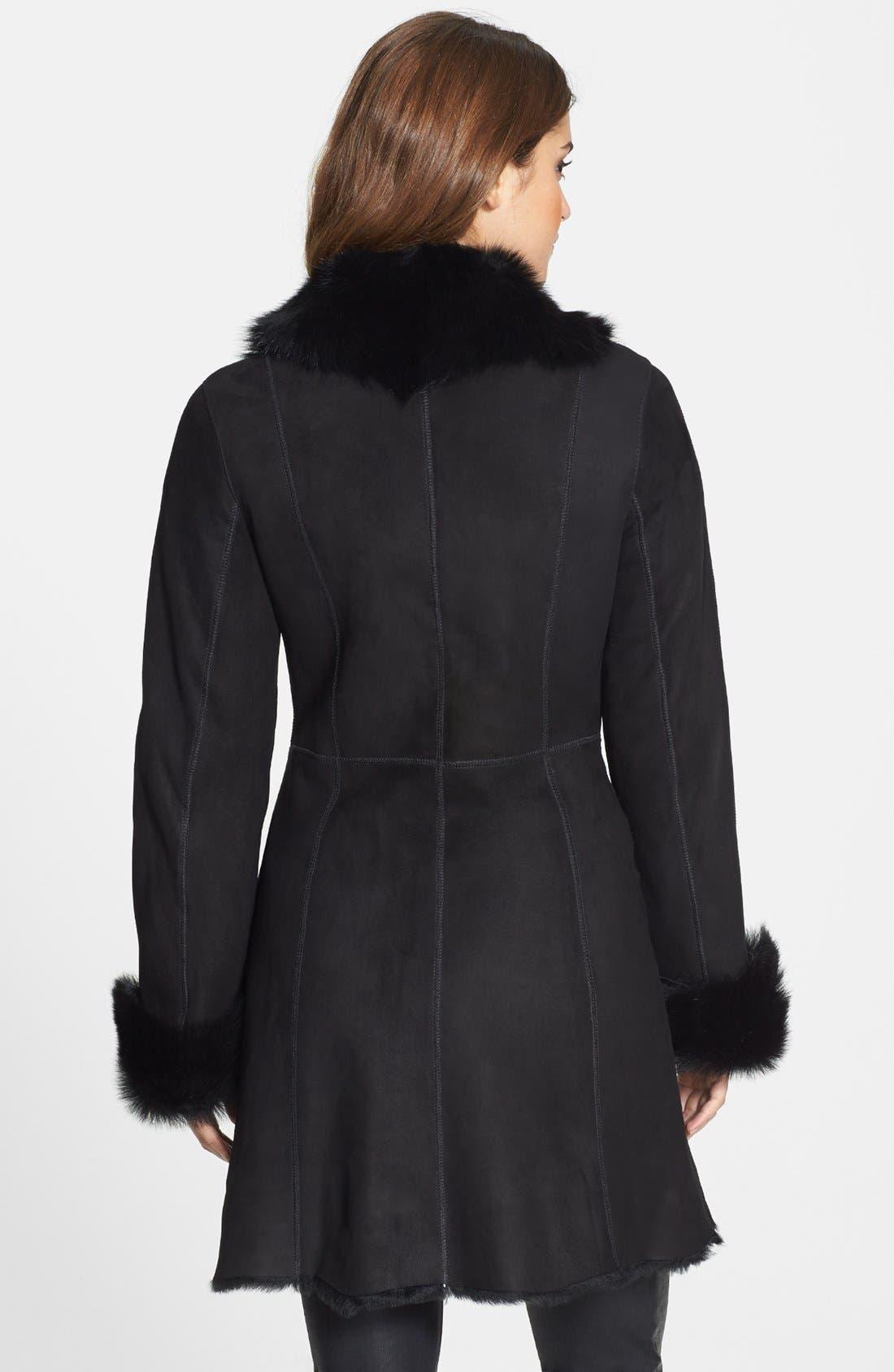 Alternate Image 2  - HiSO 'Zelda' Notch Collar Genuine Toscana Shearling Coat