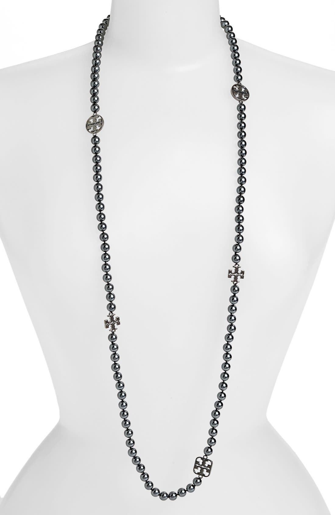 Alternate Image 1 Selected - Tory Burch 'Evie' Logo & Glass Pearl Necklace